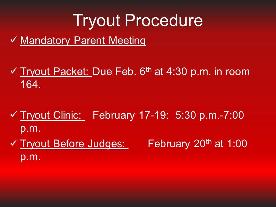 February 6 - Packets due to Marissa Briseno before 4:30 pm.