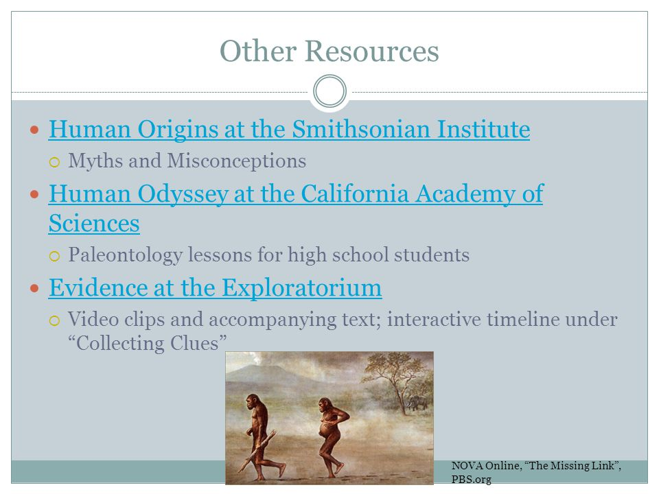 Other Resources Human Origins at the Smithsonian Institute  Myths and Misconceptions Human Odyssey at the California Academy of Sciences Human Odysse