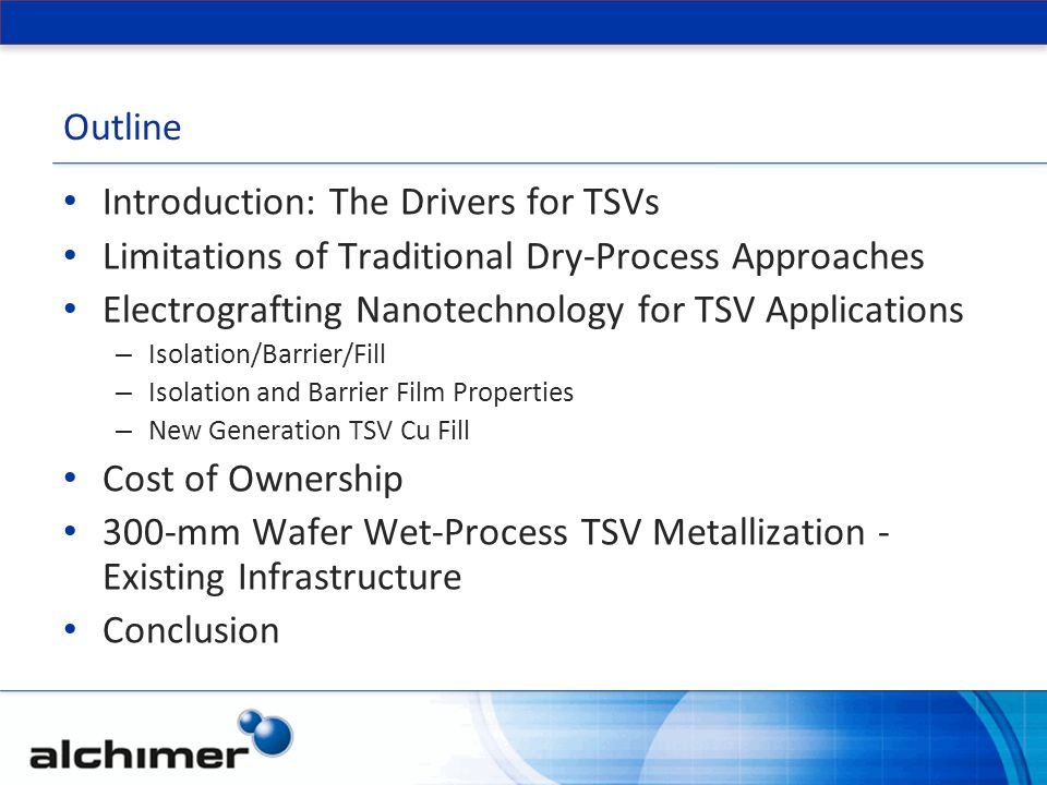 Outline Introduction: The Drivers for TSVs Limitations of Traditional Dry-Process Approaches Electrografting Nanotechnology for TSV Applications – Isolation/Barrier/Fill – Isolation and Barrier Film Properties – New Generation TSV Cu Fill Cost of Ownership 300-mm Wafer Wet-Process TSV Metallization - Existing Infrastructure Conclusion