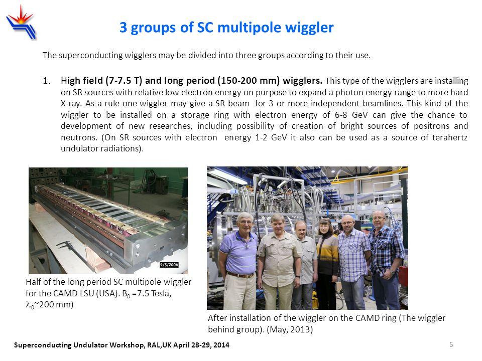 3 groups of SC multipole wiggler Superconducting Undulator Workshop, RAL,UK April 28-29, 2014 Half of the long period SC multipole wiggler for the CAM