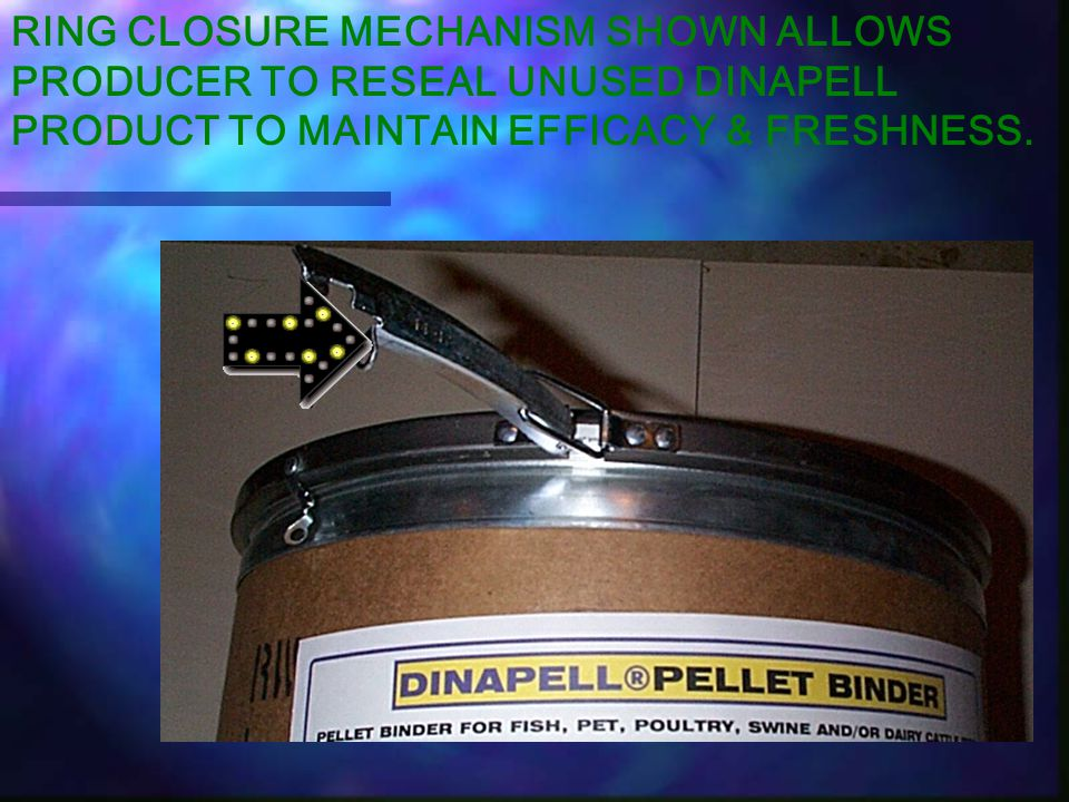 DINAPELL HARD SHELL DRUM Hardshell drum with airtight closure as well as interior plastic bag liner preserves DINAPELLS' product quality and efficacy