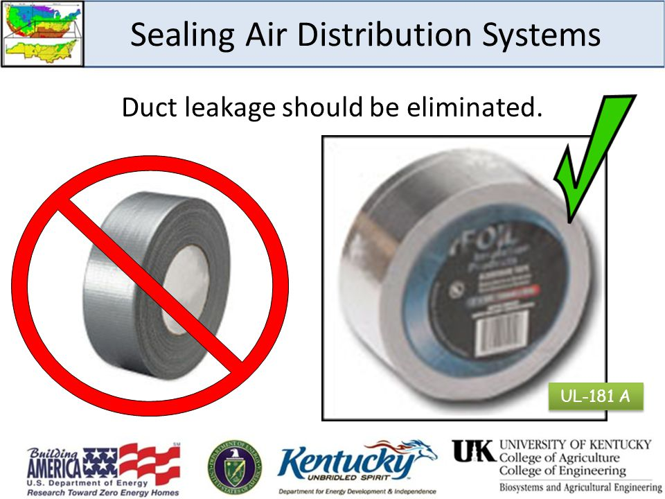 Sealing Air Distribution Systems Duct leakage should be eliminated. UL-181 A