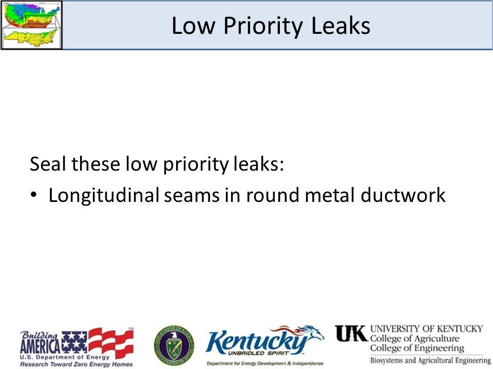 Low Priority Leaks Seal these low priority leaks: Longitudinal seams in round metal ductwork