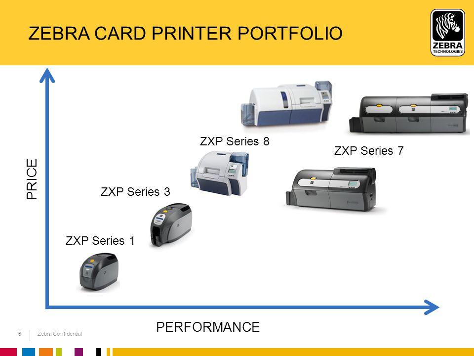 Zebra Confidential 6 ZEBRA CARD PRINTER PORTFOLIO PERFORMANCE PRICE ZXP Series 8 ZXP Series 1 ZXP Series 3 ZXP Series 7
