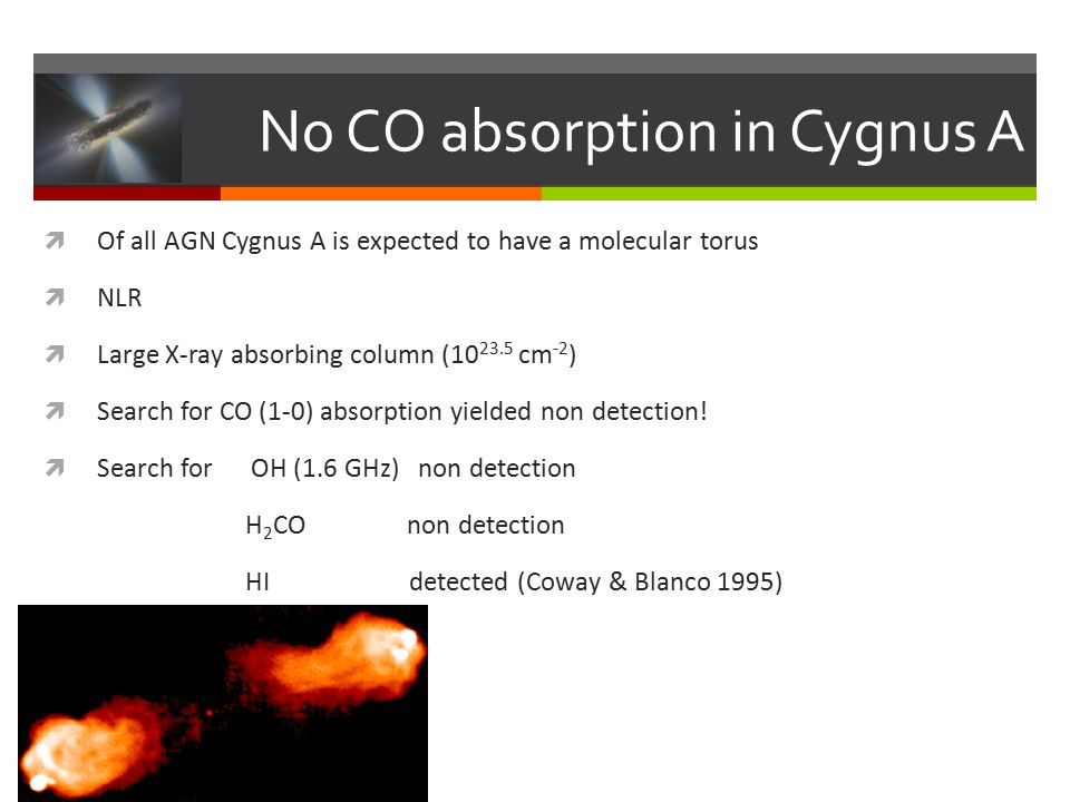 No CO absorption in Cygnus A  Of all AGN Cygnus A is expected to have a molecular torus  NLR  Large X-ray absorbing column (10 23.5 cm -2 )  Search for CO (1-0) absorption yielded non detection.