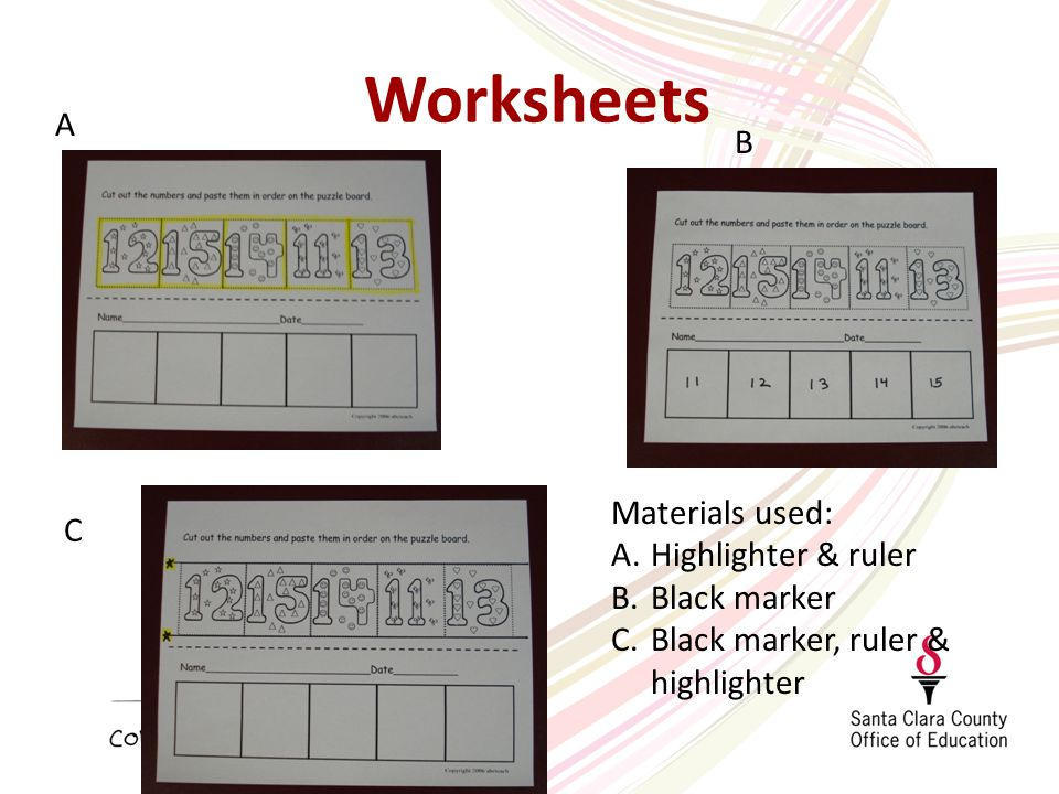 Worksheets A B C Materials used: A.Highlighter & ruler B.Black marker C.Black marker, ruler & highlighter
