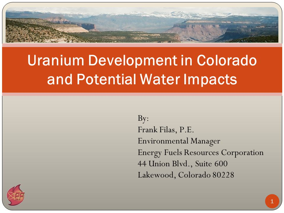 12 Uranium mining will have limited impact on water consumption and use Uranium milling will have a larger impact on water consumption and use but also will provide substantial quantities of uranium and vanadium for power generation and industrial use Mining impacts to surface and groundwater are minimized through modern mine and reclamation design practices Milling impacts to surface and groundwater are minimized through proper siting, secondary containment measures, and comprehensive closure and reclamation Summary