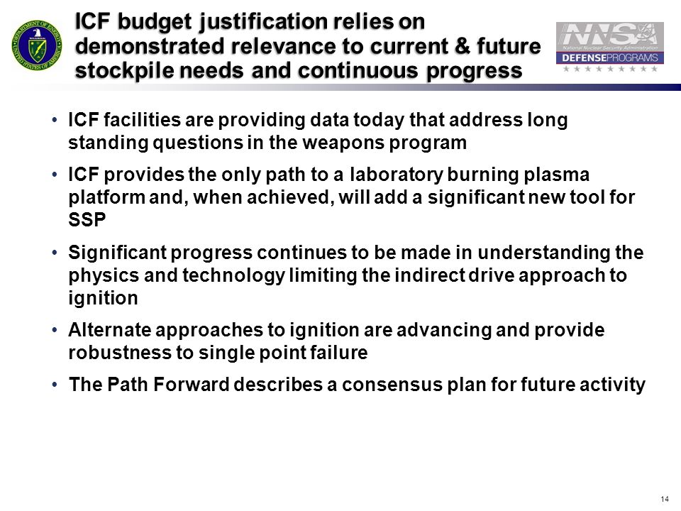 14 ICF budget justification relies on demonstrated relevance to current & future stockpile needs and continuous progress ICF facilities are providing