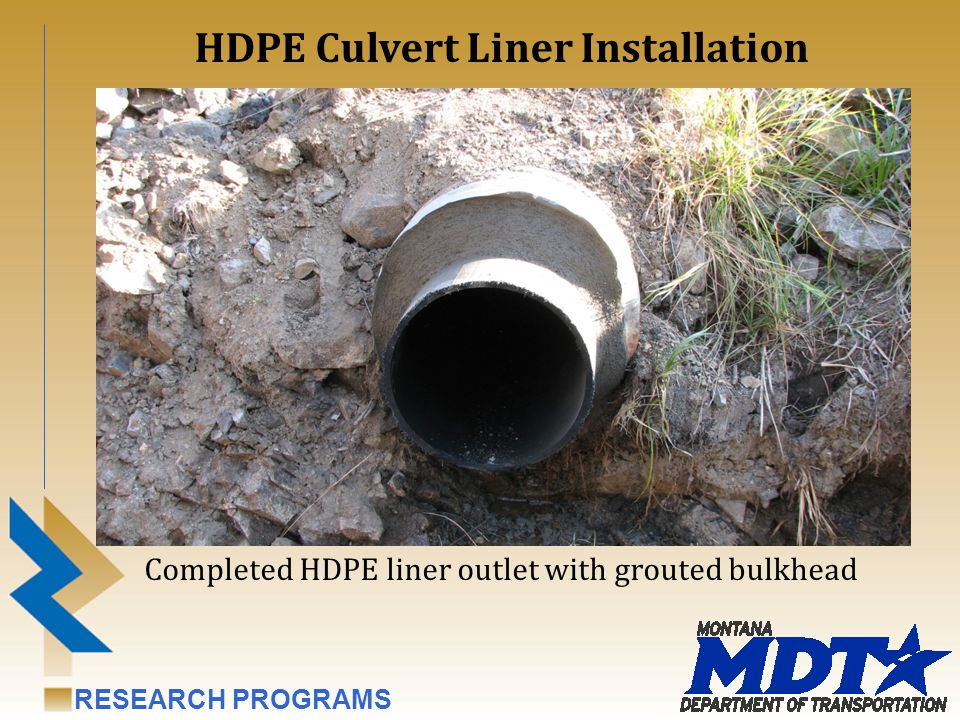 RESEARCH PROGRAMS Completed HDPE liner outlet with grouted bulkhead HDPE Culvert Liner Installation