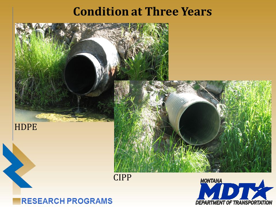 RESEARCH PROGRAMS Condition at Three Years HDPE CIPP