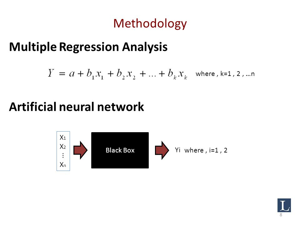 Methodology Multiple Regression Analysis Artificial neural network Black Box Yi where, i=1, 2 where, k=1, 2, …n 8
