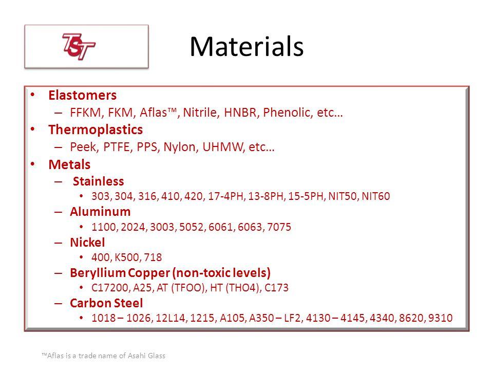 Materials Elastomers – FFKM, FKM, Aflas™, Nitrile, HNBR, Phenolic, etc… Thermoplastics – Peek, PTFE, PPS, Nylon, UHMW, etc… Metals – Stainless 303, 30
