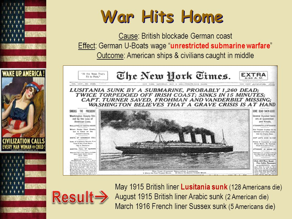 Americans View of the War: Socialists - criticize war as capitalist & imperialist Pacifists - belief that war was evil & America needs to set an example of peace to rest of world Home Country Ties - many sympathized with the country in which they had emigrated from Economic Ties - most tied to Allied Powers, less to Germany Outcome: U.S.