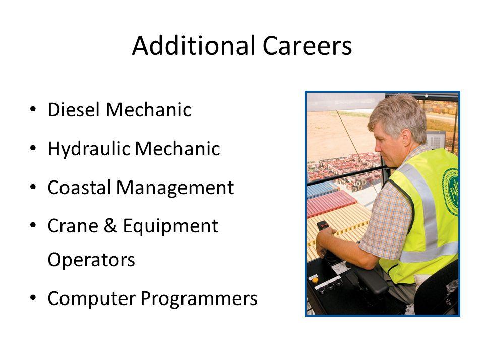 Additional Careers Diesel Mechanic Hydraulic Mechanic Coastal Management Crane & Equipment Operators Computer Programmers