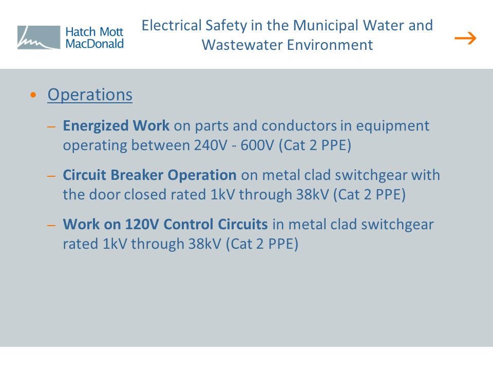  Operations – Energized Work on parts and conductors in equipment operating between 240V - 600V (Cat 2 PPE) – Circuit Breaker Operation on metal clad