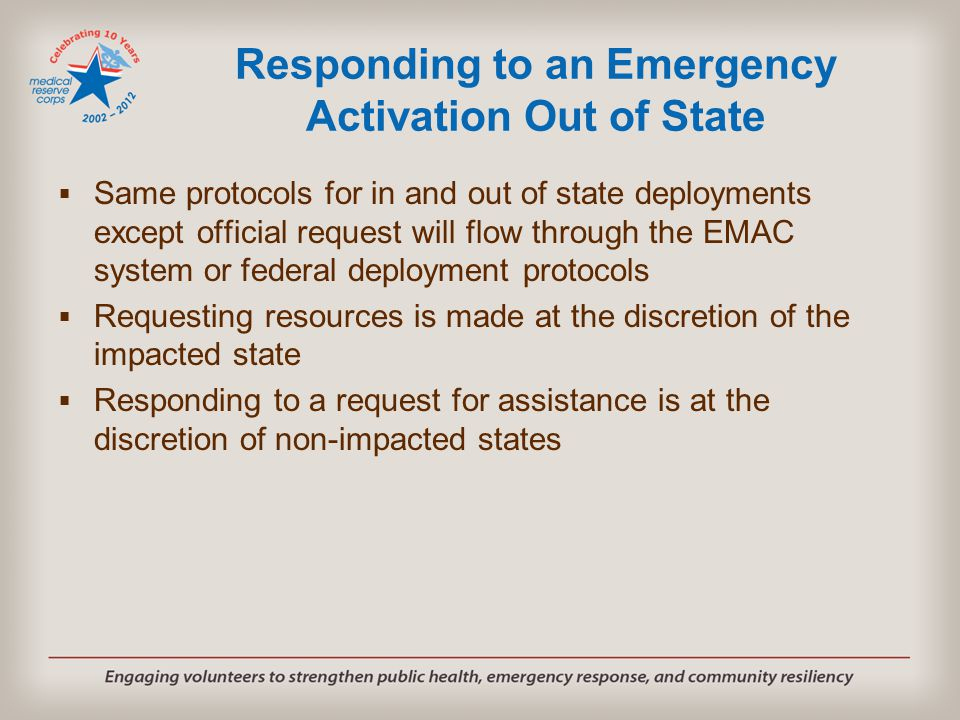 Responding to an Emergency Activation Out of State  Same protocols for in and out of state deployments except official request will flow through the