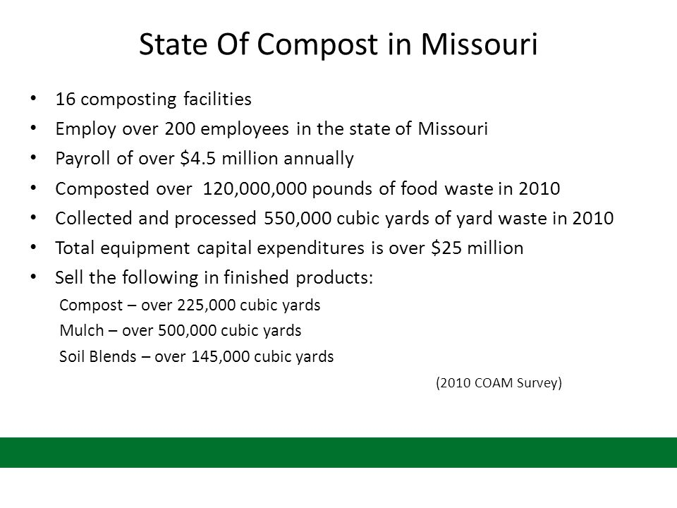 State Of Compost in Missouri 16 composting facilities Employ over 200 employees in the state of Missouri Payroll of over $4.5 million annually Composted over 120,000,000 pounds of food waste in 2010 Collected and processed 550,000 cubic yards of yard waste in 2010 Total equipment capital expenditures is over $25 million Sell the following in finished products: Compost – over 225,000 cubic yards Mulch – over 500,000 cubic yards Soil Blends – over 145,000 cubic yards (2010 COAM Survey)