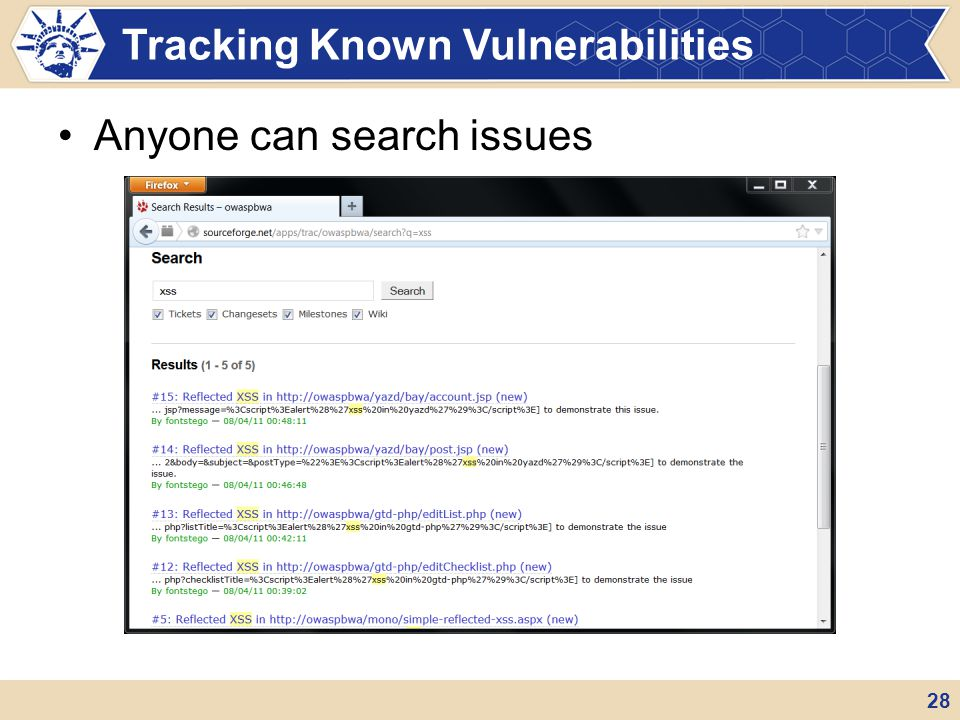 Anyone can search issues Tracking Known Vulnerabilities 28