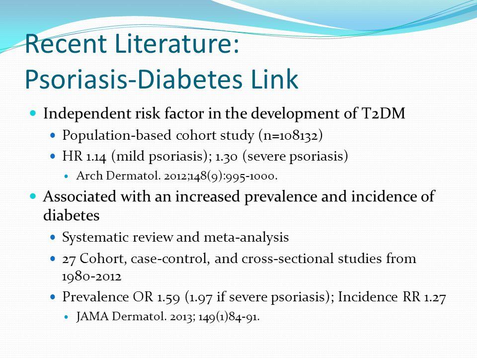 Recent Literature: Psoriasis-Diabetes Link Independent risk factor in the development of T2DM Population-based cohort study (n=108132) HR 1.14 (mild p