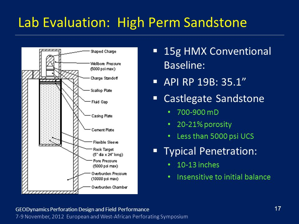 GEODynamics Perforation Design and Field Performance 7-9 November, 2012 European and West-African Perforating Symposium Lab Evaluation: High Perm Sand