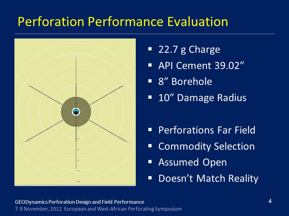 GEODynamics Perforation Design and Field Performance 7-9 November, 2012 European and West-African Perforating Symposium Perforation Performance Evalua