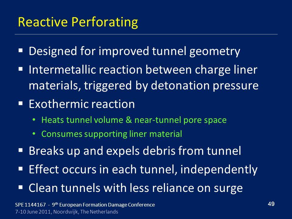 SPE 1144167 - 9 th European Formation Damage Conference 7-10 June 2011, Noordwijk, The Netherlands Reactive Perforating  Designed for improved tunnel