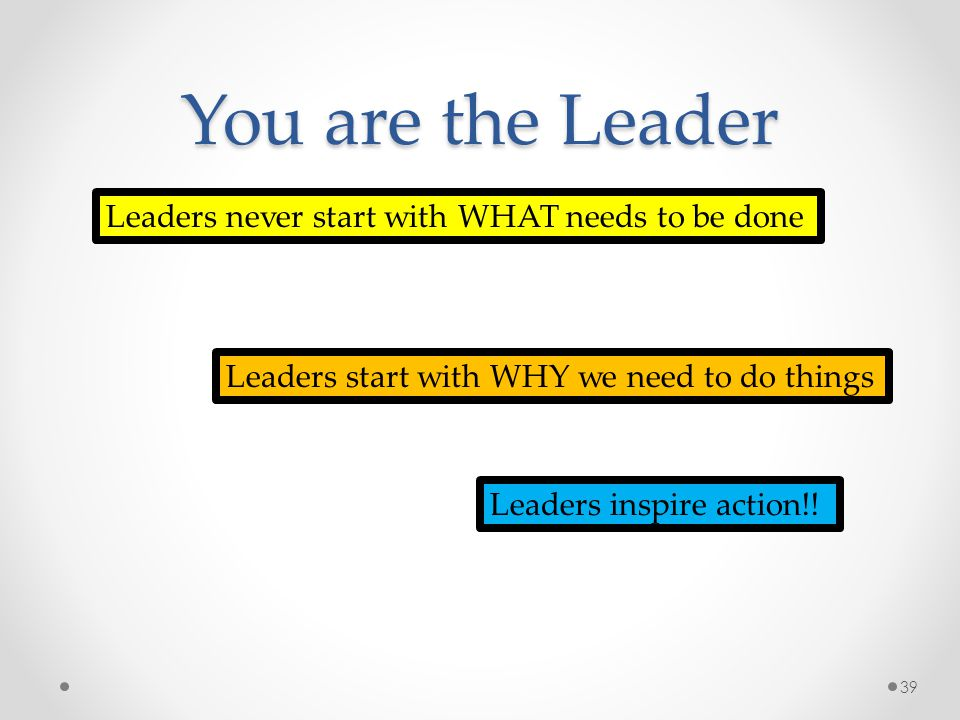Leaders never start with WHAT needs to be done Leaders start with WHY we need to do things Leaders inspire action!! You are the Leader 39