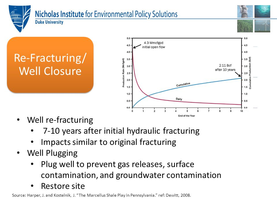"""Source: Harper, J. and Kostelnik, J. """"The Marcellus Shale Play in Pennsylvania."""" ref: Dewitt, 2008. Well re-fracturing 7-10 years after initial hydrau"""