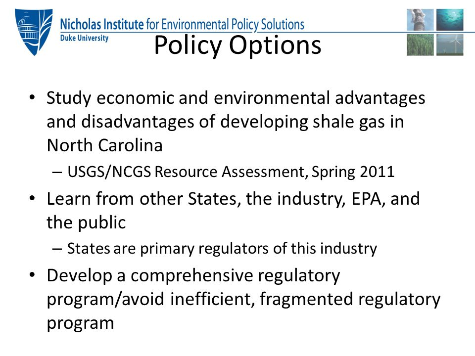 Policy Options Study economic and environmental advantages and disadvantages of developing shale gas in North Carolina – USGS/NCGS Resource Assessment