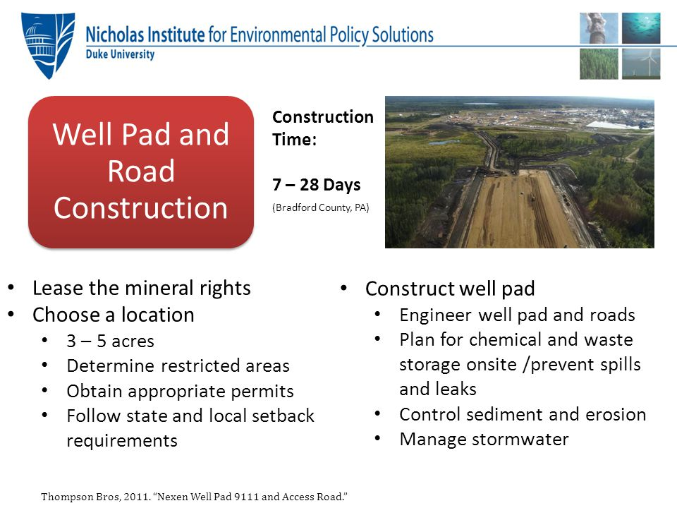 Local Land Use Issues Restricting well development in scenic areas Requiring stormwater management plans Requiring erosion control plans Setting well spacing requirements Mandating setbacks – Residences – Water bodies – Road ways Setting Noise and Light Standards: – Setting hours of operation in urban areas