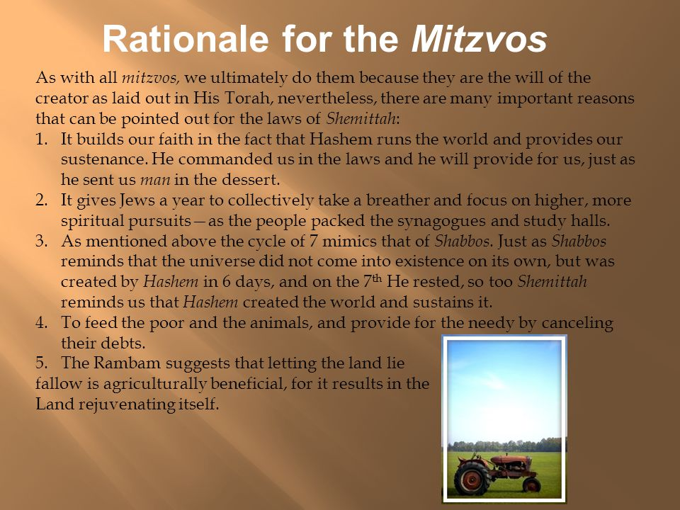 Rationale for the Mitzvos As with all mitzvos, we ultimately do them because they are the will of the creator as laid out in His Torah, nevertheless, there are many important reasons that can be pointed out for the laws of Shemittah : 1.It builds our faith in the fact that Hashem runs the world and provides our sustenance.