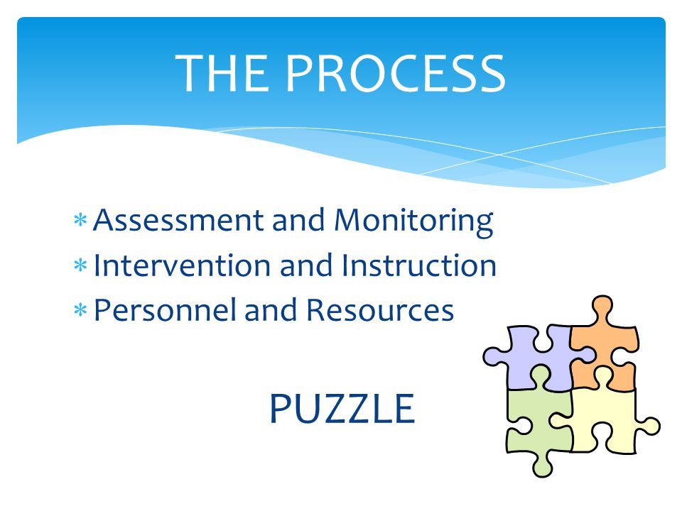  Assessment and Monitoring  Intervention and Instruction  Personnel and Resources PUZZLE THE PROCESS