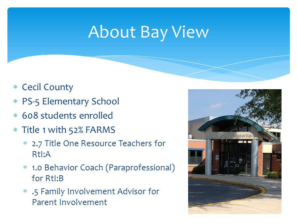 Cecil County  PS-5 Elementary School  608 students enrolled  Title 1 with 52% FARMS  2.7 Title One Resource Teachers for RtI:A  1.0 Behavior Coach (Paraprofessional) for RtI:B .5 Family Involvement Advisor for Parent Involvement About Bay View