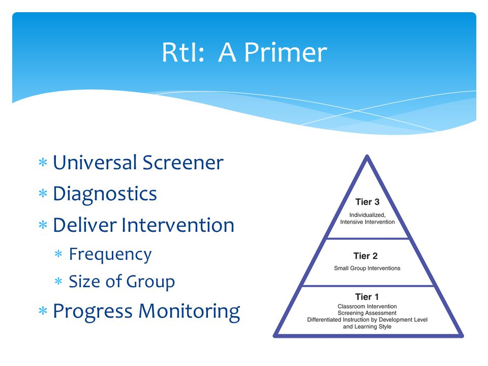  Universal Screener  Diagnostics  Deliver Intervention  Frequency  Size of Group  Progress Monitoring RtI: A Primer