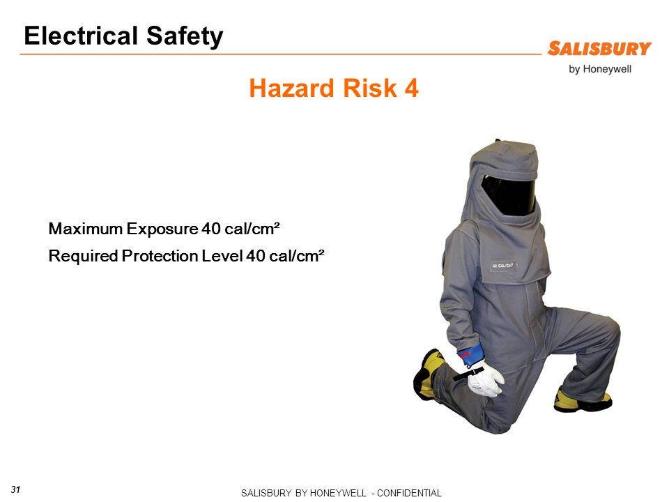SALISBURY BY HONEYWELL - CONFIDENTIAL 31 Hazard Risk 4 Maximum Exposure 40 cal/cm² Required Protection Level 40 cal/cm² Electrical Safety