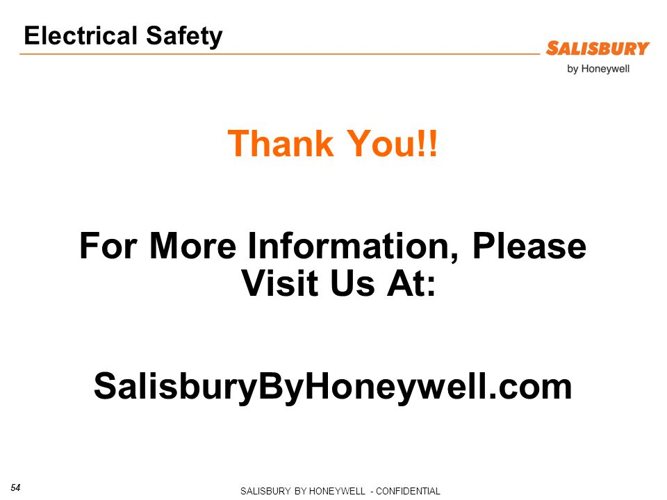 SALISBURY BY HONEYWELL - CONFIDENTIAL 54 Thank You!.
