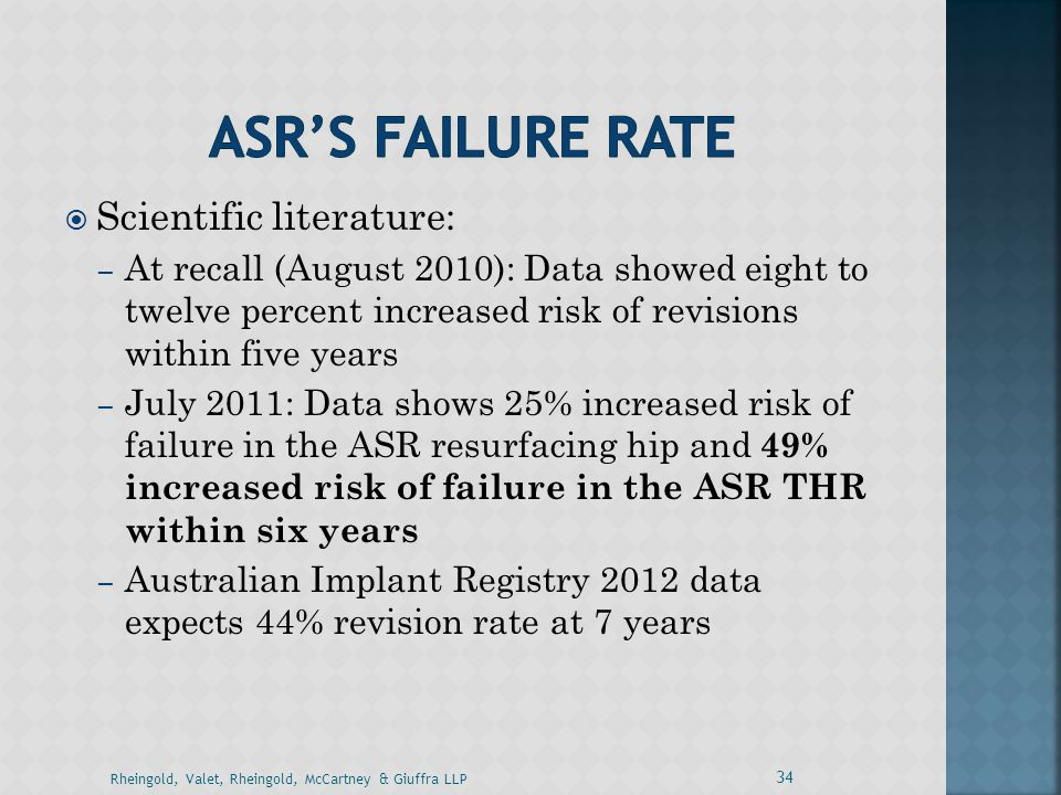  Scientific literature: – At recall (August 2010): Data showed eight to twelve percent increased risk of revisions within five years – July 2011: Dat