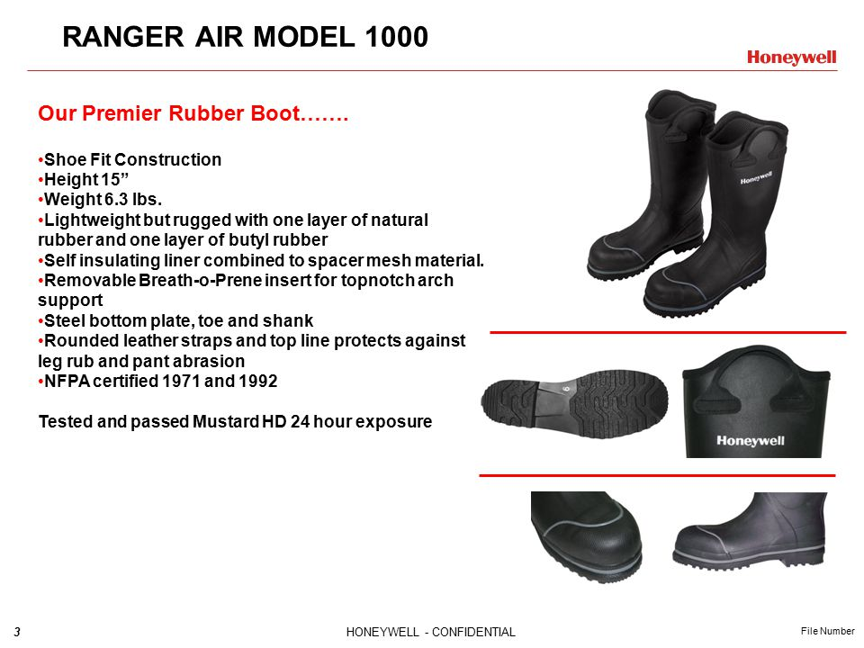 3HONEYWELL - CONFIDENTIAL File Number RANGER AIR MODEL 1000 Our Premier Rubber Boot…….