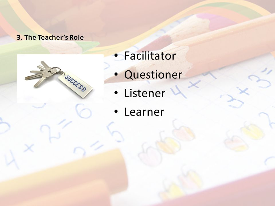 3. The Teacher's Role Facilitator Questioner Listener Learner 5 Key Components