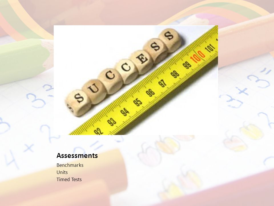 Assessments Benchmarks Units Timed Tests