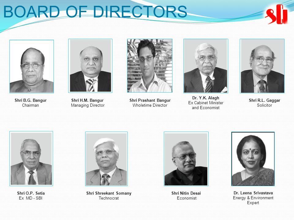 BOARD OF DIRECTORS Shri B.G. Bangur Chairman Shri H.M. Bangur Managing Director Shri Prashant Bangur Wholetime Director Dr. Y.K. Alagh Ex Cabinet Mini