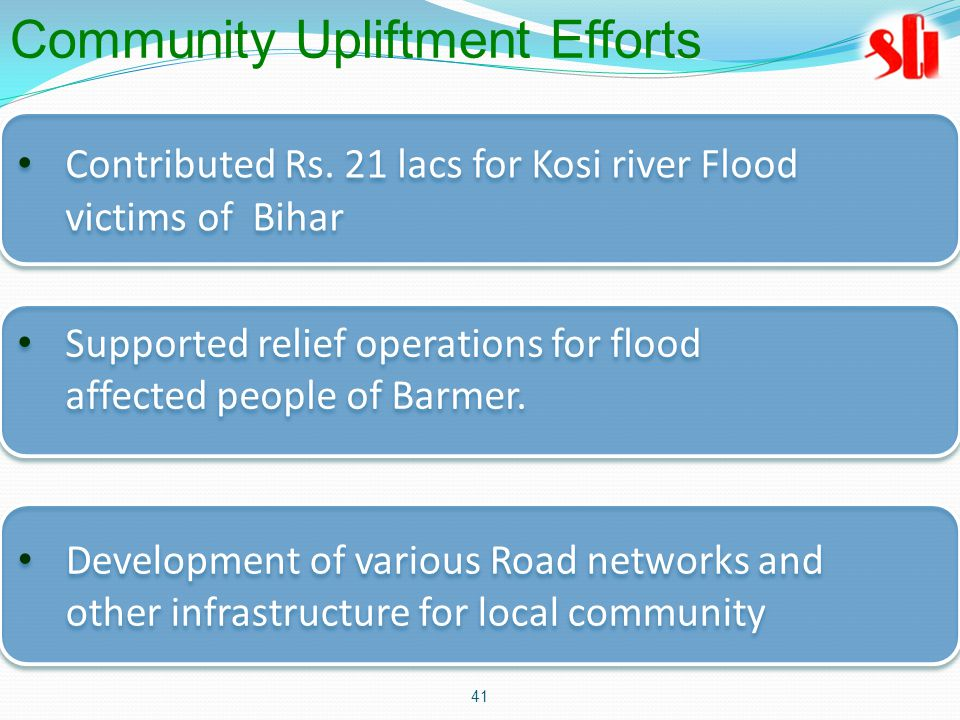 41 Contributed Rs. 21 lacs for Kosi river Flood victims of Bihar Contributed Rs.