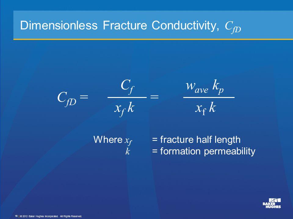 Dimensionless Fracture Conductivity, C fD C fD = = CfCf xf kxf k w ave k p xf kxf k Where x f = fracture half length k = formation permeability © 2012