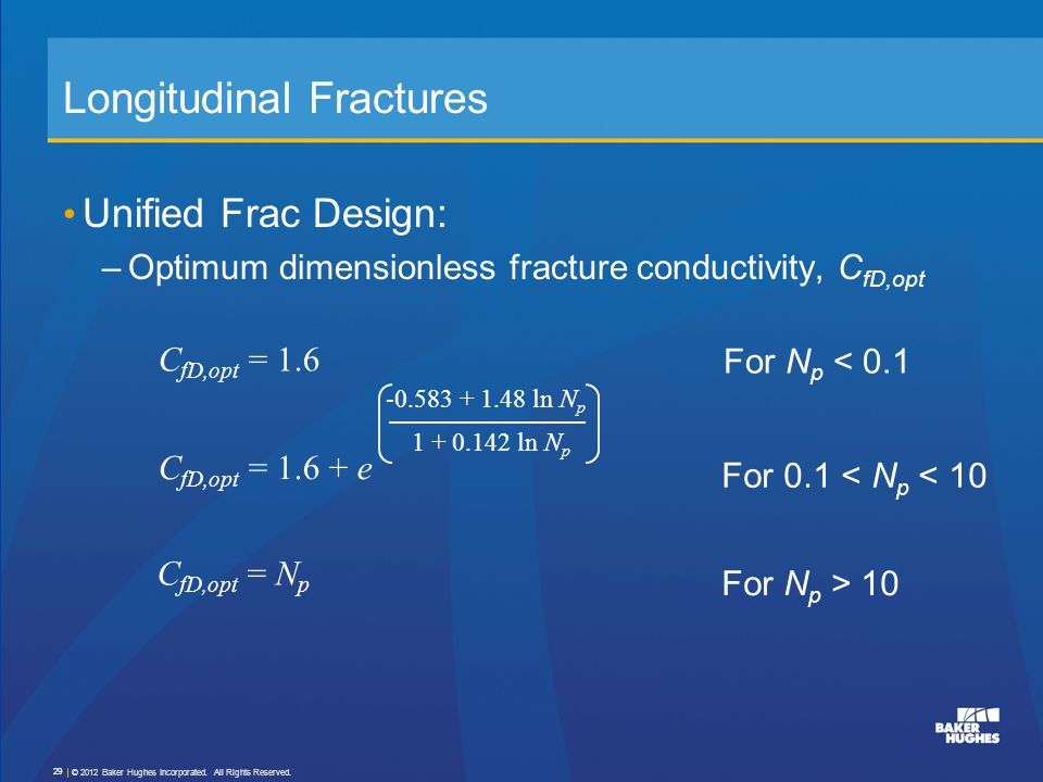 Longitudinal Fractures Unified Frac Design: –Optimum dimensionless fracture conductivity, C fD,opt C fD,opt = 1.6 C fD,opt = N p C fD,opt = 1.6 + e -0
