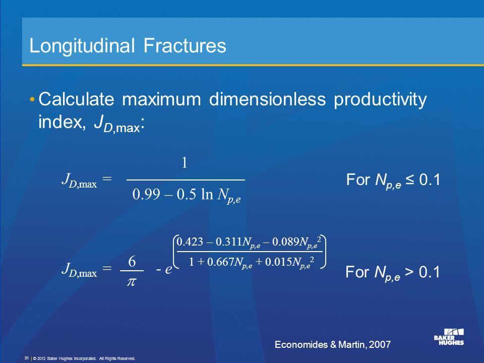 Longitudinal Fractures Calculate maximum dimensionless productivity index, J D,max : J D,max = J D,max = - e 0.423 – 0.311N p,e – 0.089N p,e 2 1 + 0.6