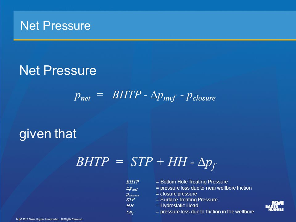 Basic Fracture Characteristics Height, h f Length, x f Width, w © 2012 Baker Hughes Incorporated.