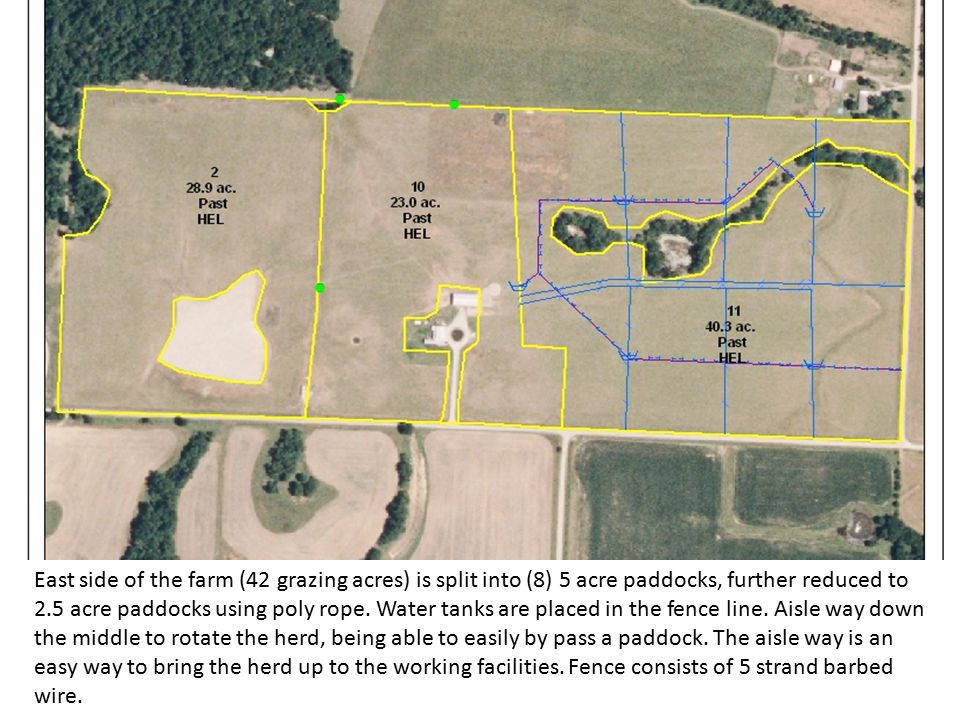 The West side (30 grazing acres) of the farm is divided into (5) 5 acre paddocks w/ an energy free waterer in the center of each pasture.