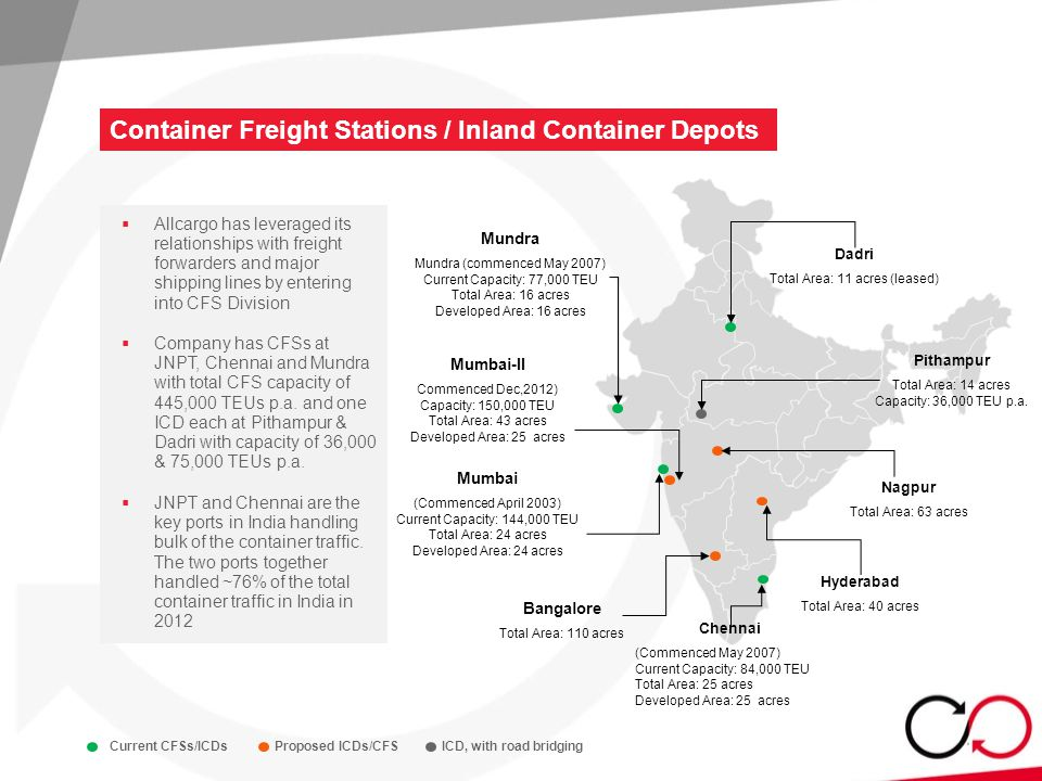 Container Freight Stations / Inland Container Depots 14  Allcargo has leveraged its relationships with freight forwarders and major shipping lines by entering into CFS Division  Company has CFSs at JNPT, Chennai and Mundra with total CFS capacity of 445,000 TEUs p.a.