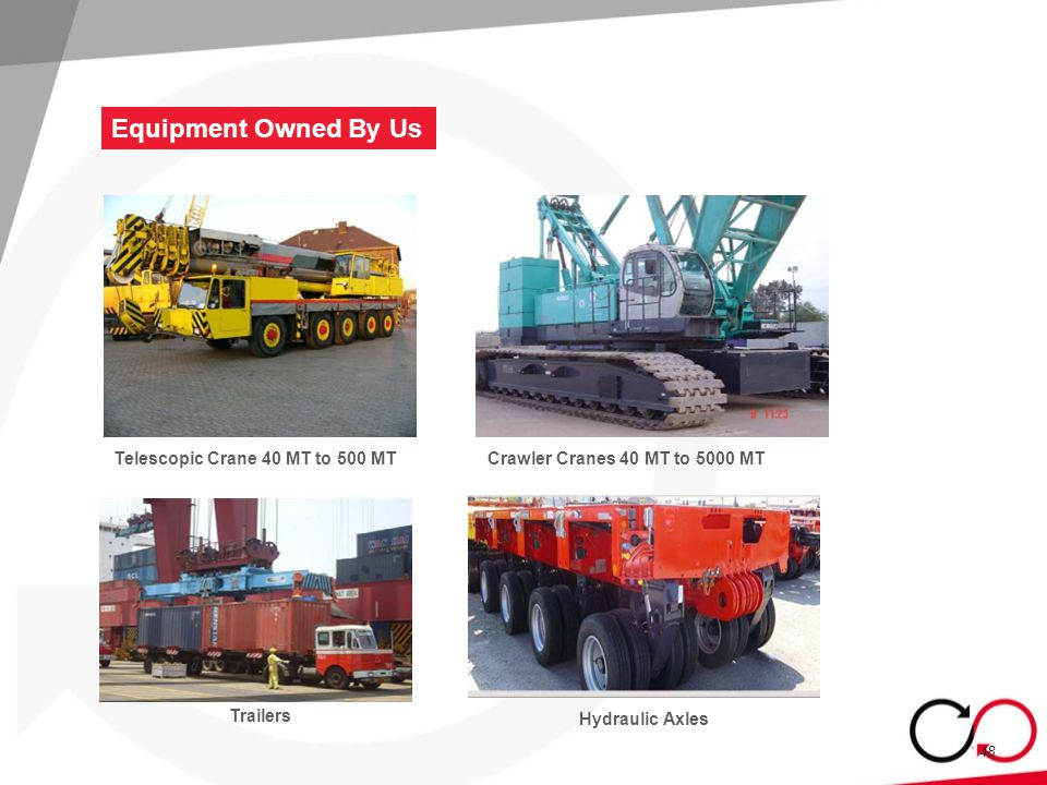 Equipment Owned By Us 48 Telescopic Crane 40 MT to 500 MT Crawler Cranes 40 MT to 5000 MT Trailers Hydraulic Axles