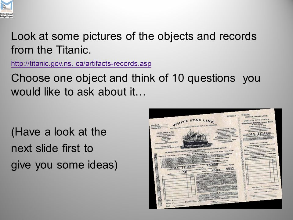 Look at some pictures of the objects and records from the Titanic.